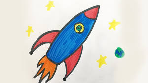 how to draw and color a space ship for kids youtube