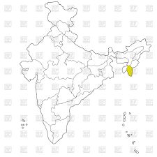 north eastern state mizoram on the map of india free vector