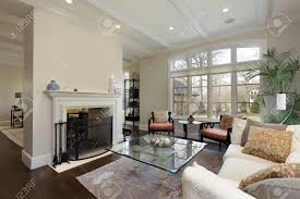 Living Rooms With Fireplaces living room in luxury home with fireplace stock photo picture and