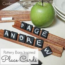 pottery barn inspired chalkboard tile place cards hometalk