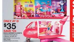 target black friday 20 percent coupon barbie glamour jet is 35 at target on black friday