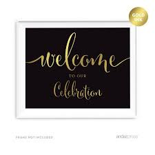 baby shower signs welcome to our celebration black and metallic gold baby shower
