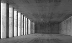 empty interior and concrete walls and columns 3d stock