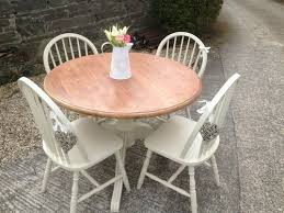 sold for 92 00 solid pine round dining table 4 chairs painted