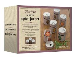 amazon com set of 6 spice jars spice racks kitchen dining