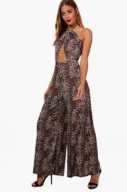 cheetah print jumpsuit keeley high neck leopard print jumpsuit boohoo