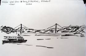 ink sketch by lisa hsia of bridge and ship in the bosphorus