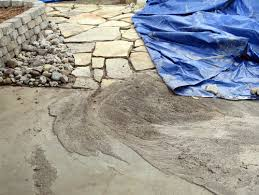Flagstone Patio On Concrete by Flagstone Patio On Slope Ruined By Water Runnoff