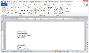 free basic resignation letter template for word