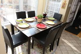 7pc espresso dining room kitchen set table 6 brown leather parson
