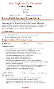gas engineer cv template tips and download u2013 cv plaza