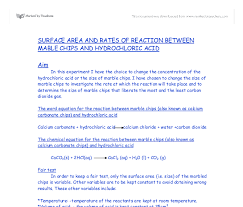 chemistry rates of reaction marble chips and hydrochloric acid