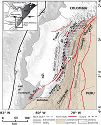 Map Fault Lines United States by New Active Tectonic Map Of Ecuador Major Fault Segments And Their