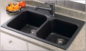 Double Kitchen Sink Black Porcelain Double Kitchen Sink Sink And Faucets Home