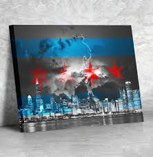 Chicagos Flag Black U0026 White Stormy Chicago Flag Skyline Canvas U2013 Zapwalls