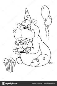 hippo holiday birthday coloring pages u2014 stock photo efengai