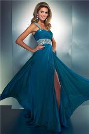 a line one shoulder long teal blue chiffon beaded prom dress with slit