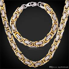 byzantine chain necklace images 2018 u7 punk chunky byzantine chain necklace bracelet set two tone jpg
