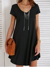 black l v neck short sleeve t shirt shift dress rosegal com