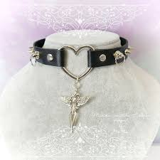 gothic collar necklace images Bdsm gothic choker necklace black faux leather heart o ring spikes jpg