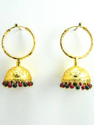 punjabi jhumka kundan earrings lotan silver metal earrings