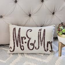 mr and mrs pillow mr mrs linen woven pillow boho home decor from spool 72