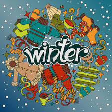 theme line winter cartoon cute doodles hand drawn winter illustration picture with