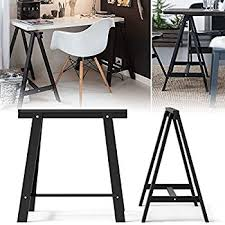 Table Desk Legs Set Of 2 Durable Solid Wood Trestle Legs With Additional Shelf For