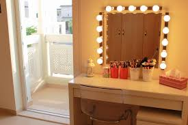 furniture white rectangle makeup table with lighted mirror plus