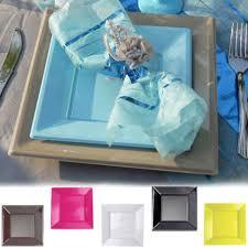 assiette jetable mariage assiette plastique carré gm pour communion baptême mariage le