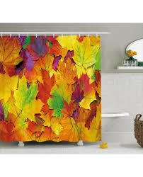 decor shower curtain colorful leaves print for bathroom