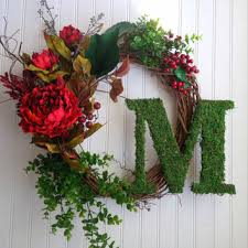 shop fall monogram door wreath on wanelo