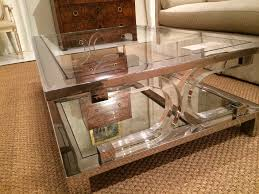 Large Coffee Table by Theo Stainless Steel And Plexiglass Coffee Table Mecox Gardens