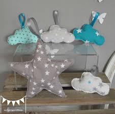 chambre bébé turquoise étoile et nuages à suspendre accrocher bleu turquoise blanc gris