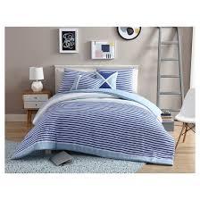 Blue And White Comforter Blue U0026 White Collegiate Stripe Reversible Comforter Set Vcny