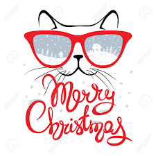 christmas glasses christmas card cat in glasses christmas calligraphy