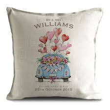 Customized Cushion Covers Personalised Just Married Wedding Anniversary Valentines Day Gift