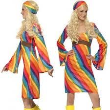 ladies rainbow hippy fancy dress costume