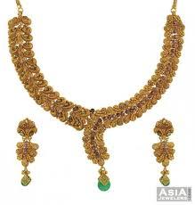 gold antique necklace set images Gold antique necklace earrings set ajns52938 22k gold antique jpg