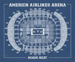 vintage print of american airlines arena seating chart on premium
