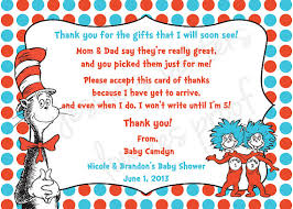 thank you baby shower cards custom made dr suess baby shower thank you card