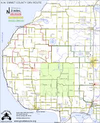 Michigan Counties Map Indian Gardens Atv Orv Ohv Route Map Emmet County Michigan