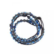 stone leather necklace images Blue jasper stone on brown leather 3 wrap bracelet jpg