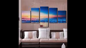 Modern Wall Art 5 Panels Modern Abstract Sunset Painting Canvas Beach Wall Art