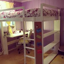 bedroom purple bed room with white stained wooden girls loft bed