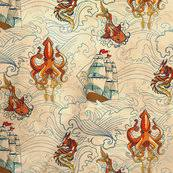 the seven seas vintage fabric threads spoonflower