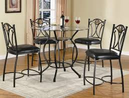 glass top u0026 black metal base 5pc counter height dining set