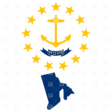 Rhode Island travel symbols images Rhode island state map and flag vector clipart image 1063 rfclipart jpg
