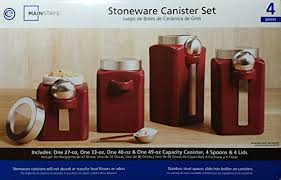 mainstays red stonewear kitchen canister set 4pc storage for