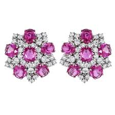 diamond earrings for sale pink sapphire diamond earrings for sale at 1stdibs